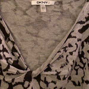 DKNYC V-neck cotton and rayon sweater